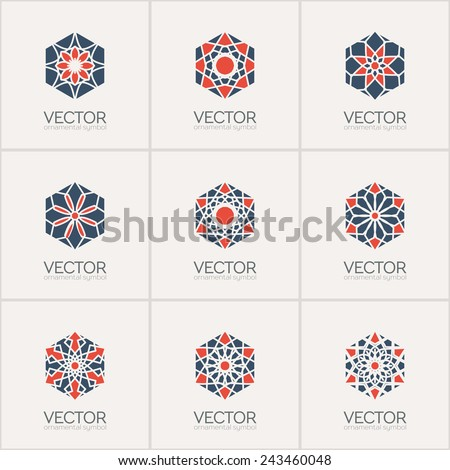 Ornamental logo template set. Vector hexagon symbols - stock vector