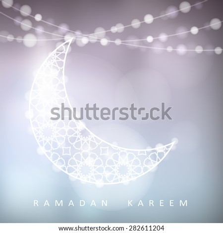 Ornamental moon with bokeh lights, vector illustration background, card, invitation for muslim community holy month Ramadan Kareem - stock vector