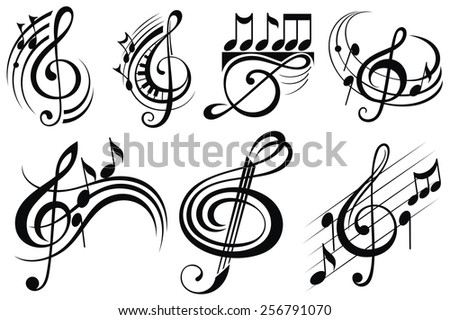 Ornamental music notes  - stock vector