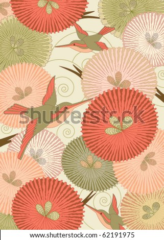 Ornamental pattern with birds and flowers in Japanese style - stock vector