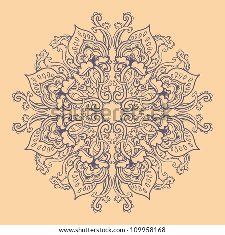 Ornamental round floral lace pattern. kaleidoscopic floral pattern, mandala. - stock vector