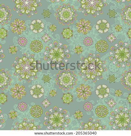 Ornamental round floral lace pattern. kaleidoscopic floral pattern, mandala. Retro lace seamless pattern. Abstract vector decorative floral backgrounds.  - stock vector