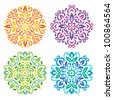 Ornamental round floral pattern. Set of four colorful ornament - stock photo