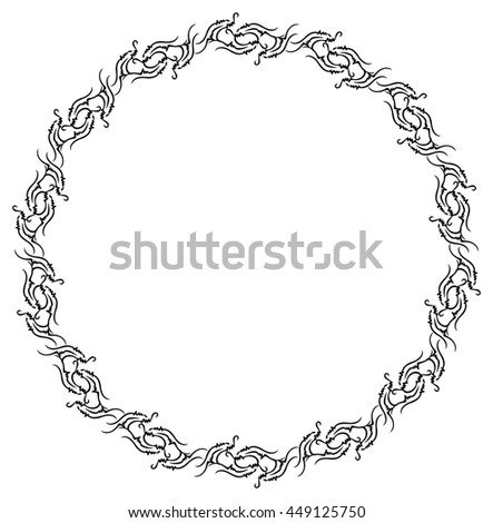 Ornamental round frame. Design element for advertisements, flyer, web, wedding and other invitations or greeting cards. Vector clip art. - stock vector