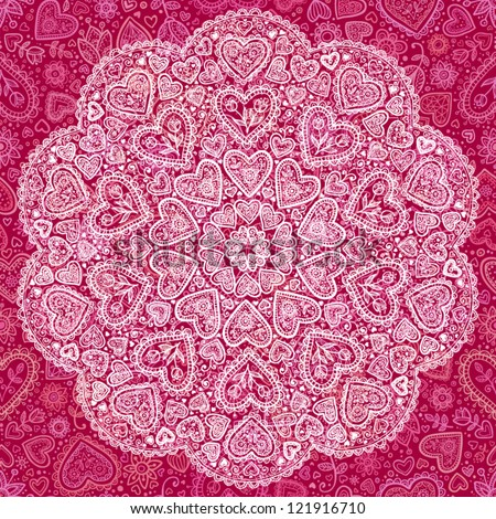 Ornamental round hearts pattern, circle background with details in Indian style - stock vector