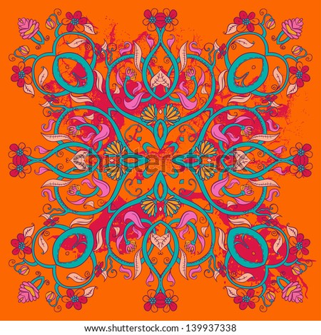 Ornamental Round Lace Floral Pattern,  background with many details - stock vector