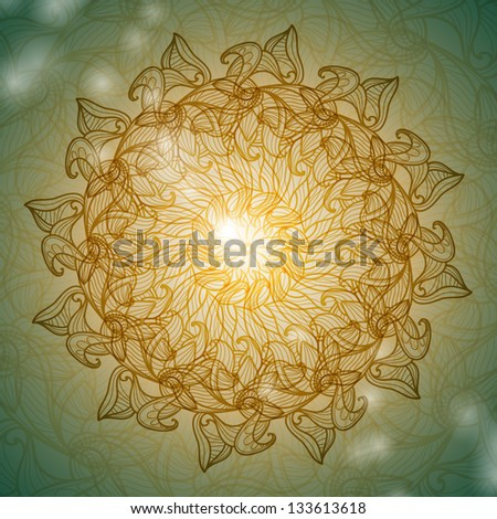 Ornamental round lace pattern - stock vector