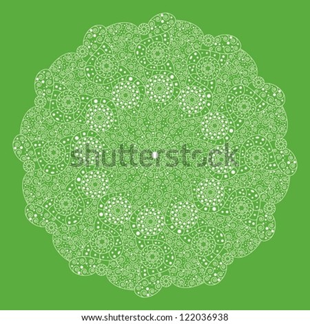 Ornamental round lace pattern, circle background with many details, looks like crocheting handmade lace on grunge background. - stock vector