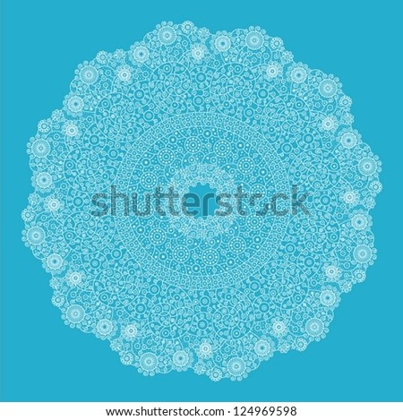 Ornamental round lace pattern, circle background with many details, looks like crocheting handmade lace. - stock vector