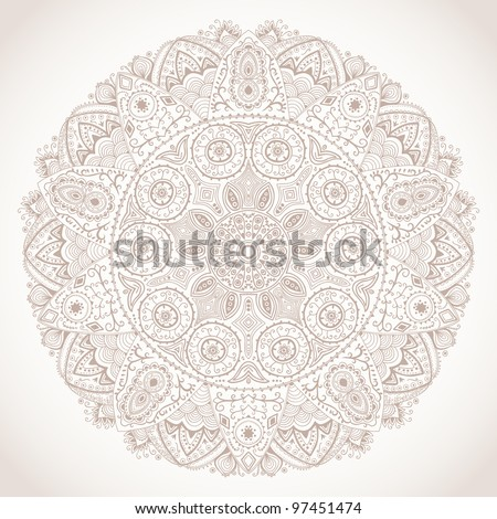 ornamental round lace pattern, circle background with many details, looks like crocheting handmade lace - stock vector