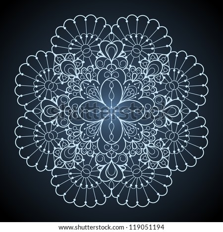 Ornamental round lace pattern. Circle lace doily against dark background. - stock vector