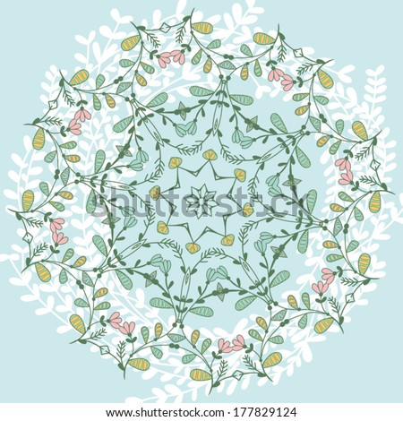 Ornamental round lace pattern, circles background with many details, look like crocheting handmade lace on grunge background, lacy arabesque designs. - stock vector