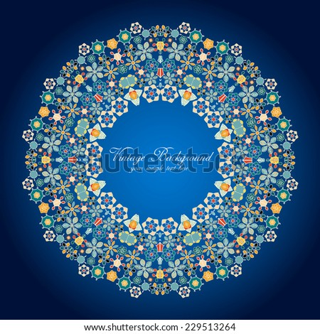 Ornamental round lace pattern.Delicate circle background with many details. - stock vector