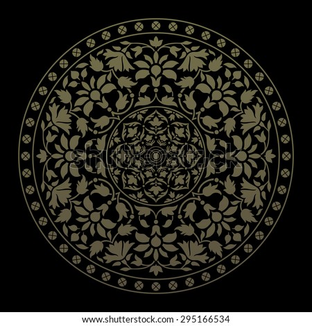 Ornamental round pattern in indian style. Vector illustration - stock vector