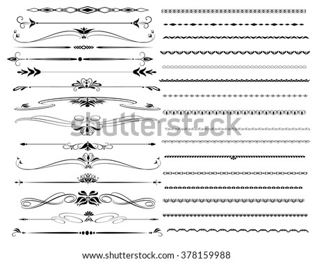 Ornamental rule lines in different designs - stock vector