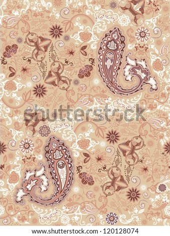 Ornamental seamless pattern for paisley. Vector illustration. - stock vector