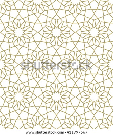 Ornamental seamless pattern. Gold background and wallpaper in Arabic style. Vector illustration.