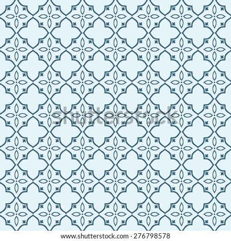 Ornamental seamless pattern in blue colors. Vector background. - stock vector