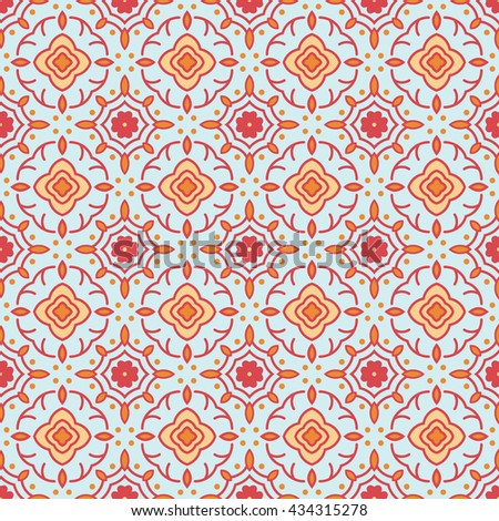 Ornamental Seamless Pattern. Repetitive Abstract Symmetry Texture. Vector Eastern Ornament Background. Ready Swatch Included in File - stock vector