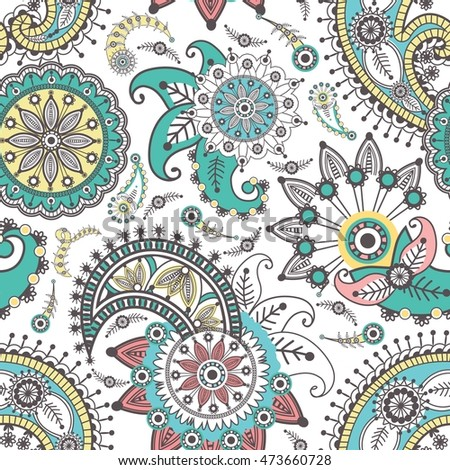 Ornamental seamless pattern. Vector abstract floral elements in Indian style. Paisley Henna Doodles.