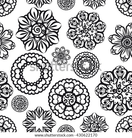 Ornamental seamless pattern with ethnic floral elements. Vector illustration - stock vector