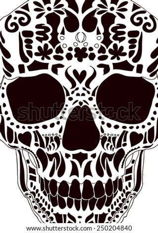 Ornamental skull as abstract floral illustration on background for design. Vector - stock vector