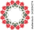 Ornamental summer floral seamless round (roses). Vector illustration. - stock photo