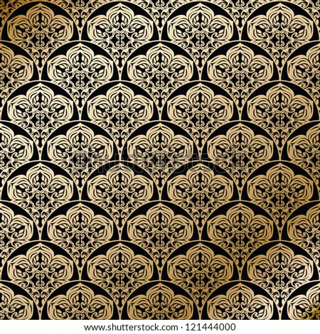 Ornamental tiled floral golden pattern, seamless texture - stock vector