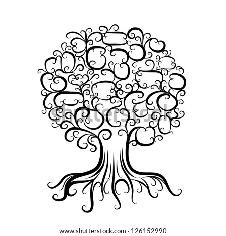 Page Coloring Book Lace Tree Stock Vector 374763751 Shutterstock