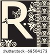 ornamental vector ABC, decorative letter R - stock vector