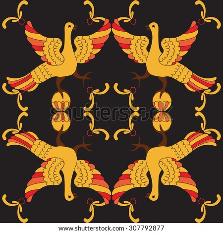 Ornamental vector seamless pattern with mythological birds. Yellow and red fairy birds on the black background. Hohloma style. Folkloric motive. Fairy tales, stories, myths and legends decoration.