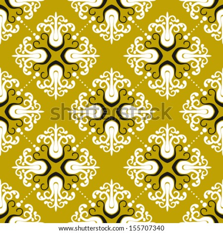 Ornamental vintage pattern with damask motifs on gold. Seamless texture for web, print, holiday decor, textile design, fabric, wrapping paper, wedding invitation background, fall summer fashion  - stock vector