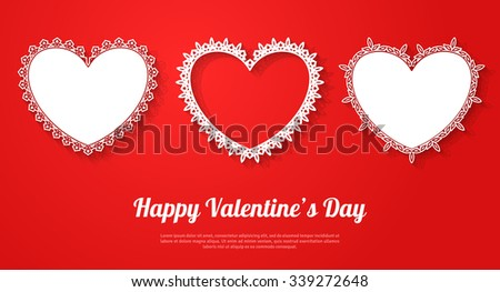 Ornamental white hearts with shadow on red background. Vector illustration. Valentines day decorative greeting card or banner with place for text. Happy Valentines Day Template. - stock vector