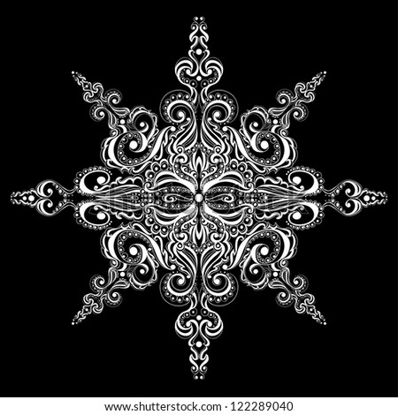 Ornamental white snowflake against black background. Tattoo pattern - stock vector