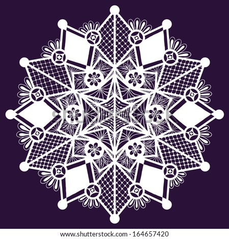Ornamental winter hand-drawn lace snowflake. Doodle background. - stock vector