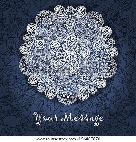 Ornamental winter hand-drawn lace snowflake. Doodle background with place for your text.