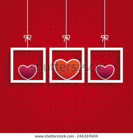 Ornaments with hearts on the red background. Eps 10 vector file. - stock vector