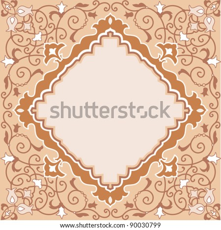 Ornate asian style ornamental floral card template