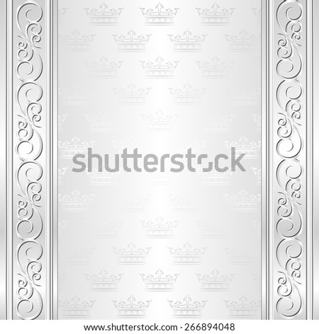 ornate background with crowns pattern - stock vector