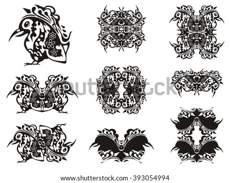 Ornate bird symbols. Freakish bird with a long beak, the symbols, frames and patterns formed from her - stock vector