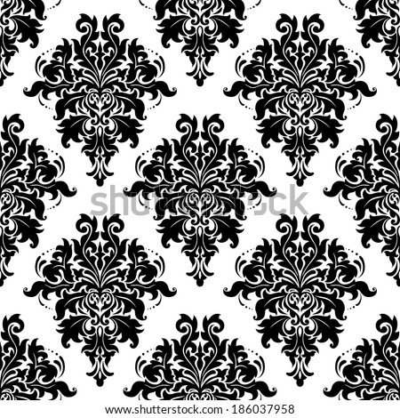 Ornate bold foliate arabesque seamless pattern with large black and white motifs in square format suitable for wallpaper or textile design - stock vector