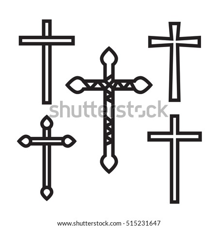 Ornate christian cross art vector illustration set