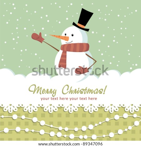 Ornate Christmas card with doodle snowman and decorative lace - stock vector