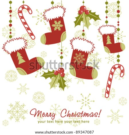 Ornate Christmas card with xmas stocking, toys holly berries, candy canes and decorative lace