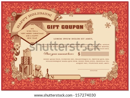 ornate christmas gift certificate with gifts and snowflakes - stock vector