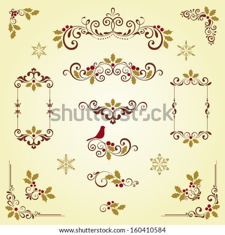 Ornate Christmas swirl set with frames, holly berry and snowflakes. Vector illustration. - stock vector