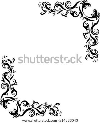 Ornate Corner Frame Decorative Ornamental Black Stock Vector HD ...