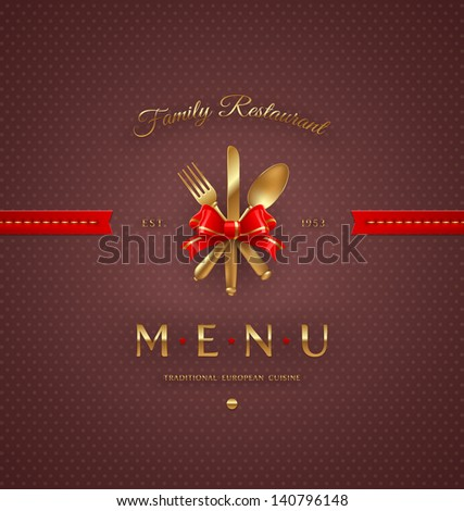 Ornate cover menu with golden cutlery and lettering - vector illustration - stock vector