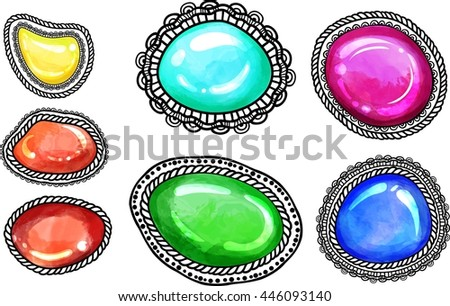 Ornate filigree mehendi pattern with colored stones. Set of Zenstones for zentangle line art. Design t-shirt print, invitation, boho chic, hipster style. Coloring books. Indian henna ornament. Vector