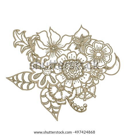 Ornate floral drawing with flowers. Doodle sharpie background. template for card, poster, leaflet. eps10